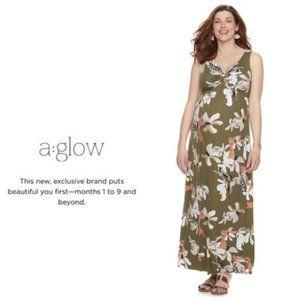 a:glow Maternity Floral Green Maxi Dress Sz S NWT